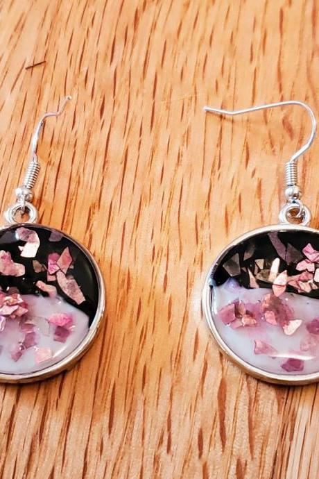Resin Earrings Circle White Black Colorblock Pink Sparkle Glitter Women's Jewelry Gifts For Her