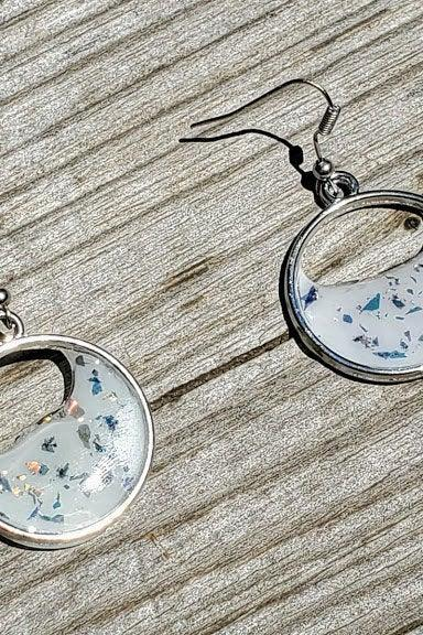 Resin Earrings Circle Crescent White Sparkle Glitter Women's Jewelry Gifts For Her