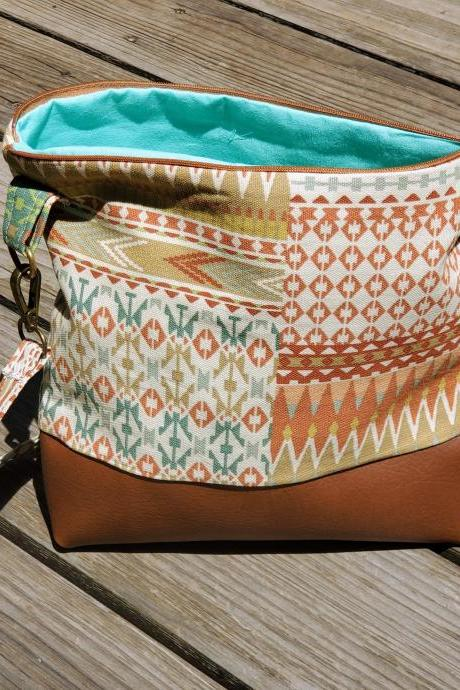Printed Crossbody Bag Purse Southwestern Medium size Vegan Leather Canvas Hardware detail Pockets Zipper Top Turquoise Orange Green Cream