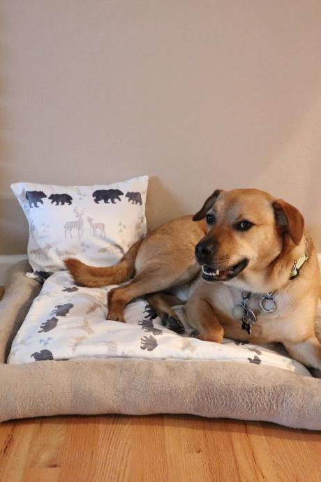 Dog Bed Set Bolster Bed Medium Sized Dog Bed Pet Bed Washable Pillow Pillow Topper Fleece Animal Print