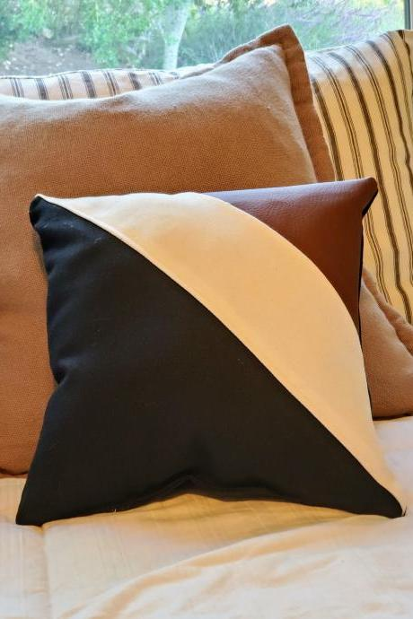 Art Deco Mini Bed/Couch/Chair Pillow, Black, White, Brown, Colorblock, Geometric, Hip, Modern