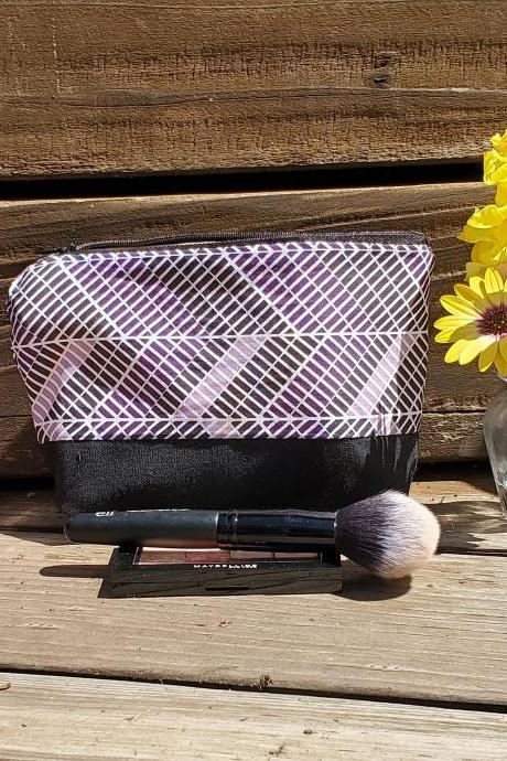 Cosmetic Makeup Bag Pouch Black Purple Waterproof Zipper
