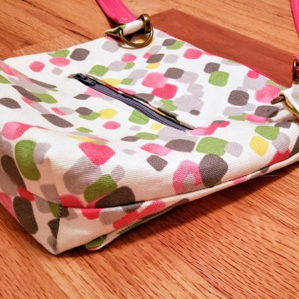Geometric Print Crossbody Bag Crossbody Purse, pink, green, grey, squares, pattern, front pocket, interior pockets, zipper top
